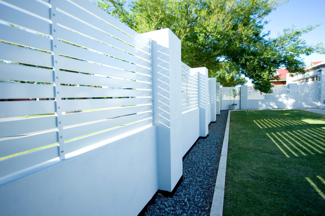 White louvre Hamptons Style fence