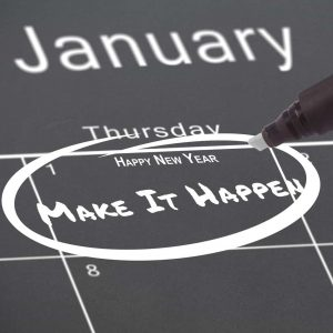 January calendar showing new year's resolutions.